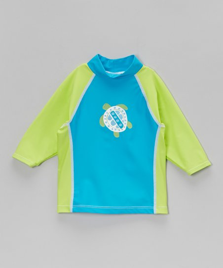 Lime & Aqua Tahiti Turtle Rashguard - Infant, Toddler & Boys
