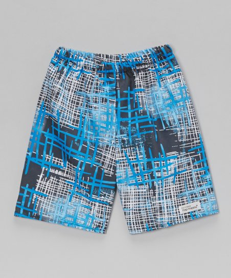 Blue Funky Plaid Swim Trunks - Toddler & Boys