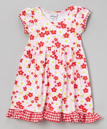 Pink & Red Country Floral Ruffle Dress - Infant, Toddler & Girls