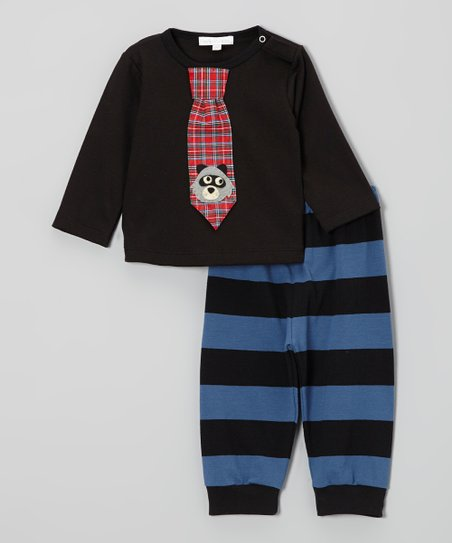 Black Raccoon Tie Tee & Stripe Pants - Infant & Toddler