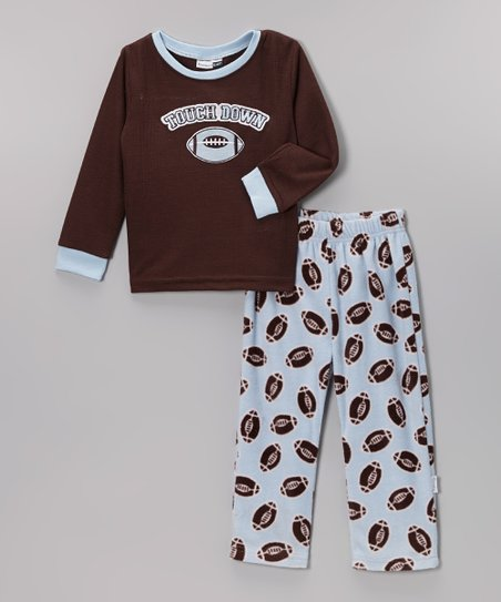 Brown 'Touchdown' Microfleece Pajama Set - Infant & Toddler