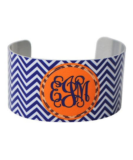 Royal Blue & Orange Zigzag Monogram Cuff Bracelet