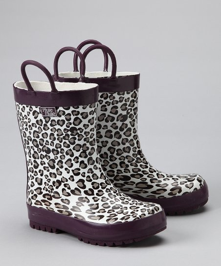Gray Leopard Rain Boot
