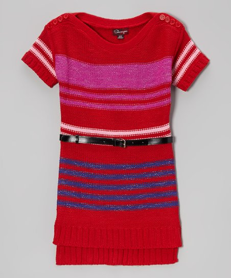 Red & Raspberry Stripe Belted Sweater Dress - Toddler & Girls