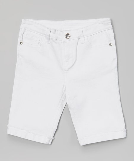 White Lace Heart Bermuda Shorts - Girls