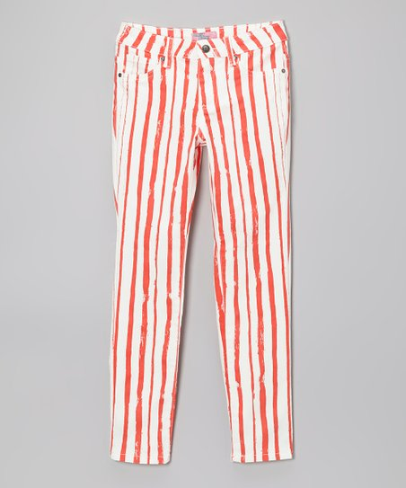 Off-White & Red Stripe Pants - Girls