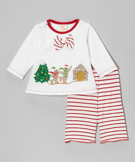 White Gingerbread Top & Red Stripe Pants - Infant & Toddler