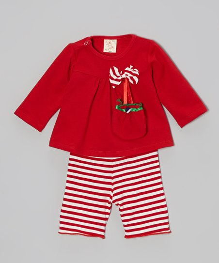 Red Candy Cane Stripe Bow Top Set - Infant & Toddler