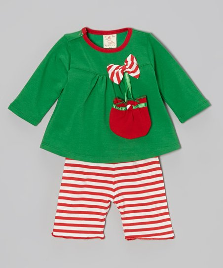 Green & Red Candy Cane Stripe Bow Top Set - Infant & Toddler