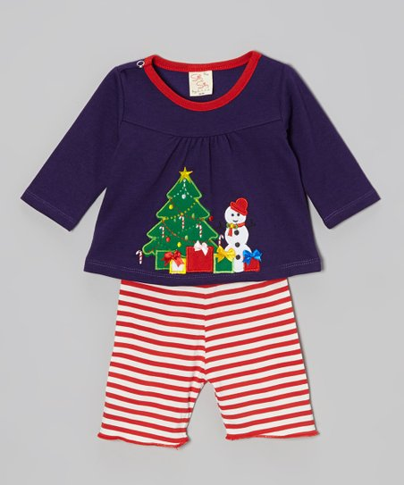 Purple Snowman Top & Red Stripe Pants - Infant & Toddler
