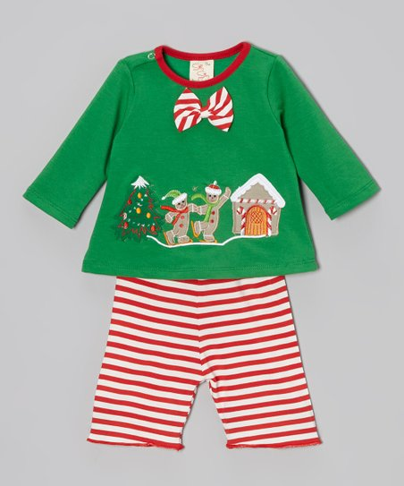 Green Gingerbread Top & Red Stripe Pants - Infant & Toddler