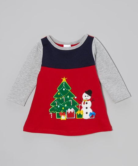 Red & Gray Snowman Dress - Toddler & Girls