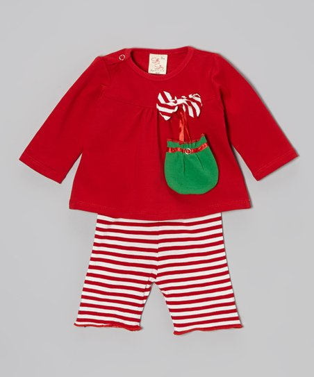 Red & Green Candy Cane Stripe Bow Top Set - Infant & Toddler