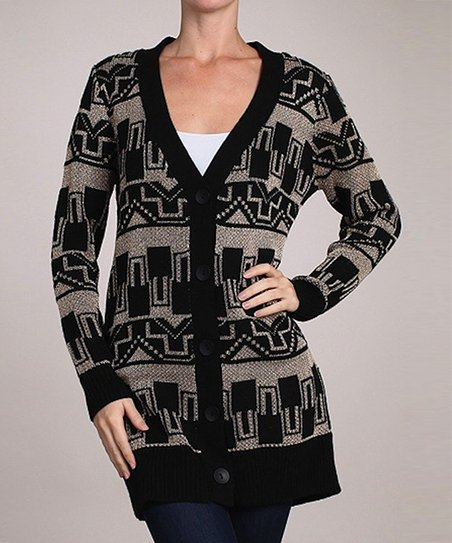 Black & Gray Tribal Cardigan