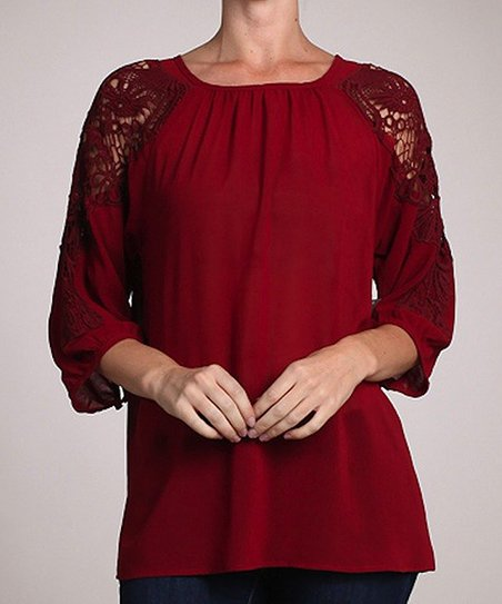 Red Lace Peasant Top