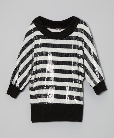 Black & White Stripe Sequin Dolman Sweater - Girls