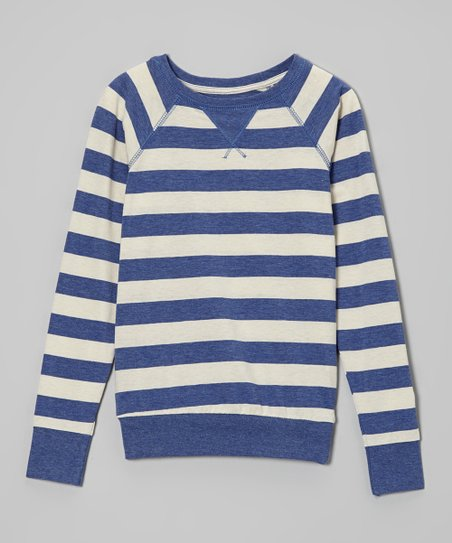 New Blue & Oatmeal Stripe Sweater