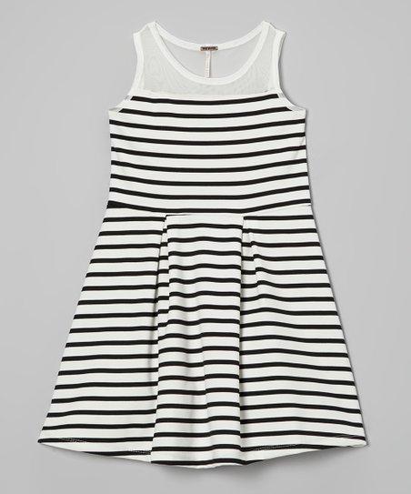 Black & White Stripe A-Line Dress