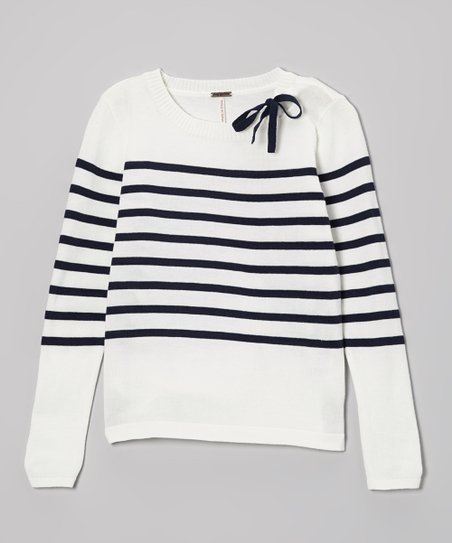 Ivory & Navy Stripe Sweater