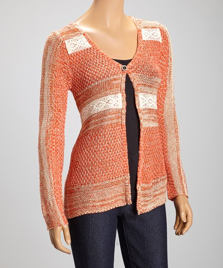 Coral & Taupe Color Block Cardigan
