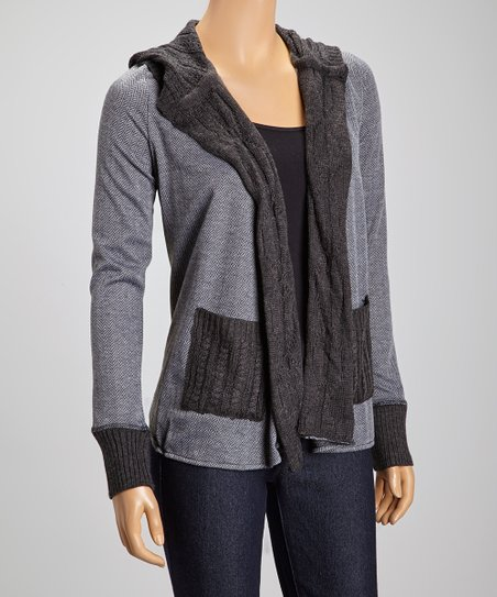 Charcoal Herringbone Hooded Cardigan