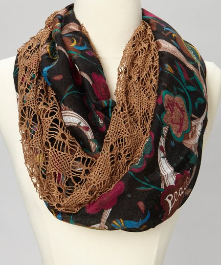 Brown Floral Open-Weave Infinity Scarf
