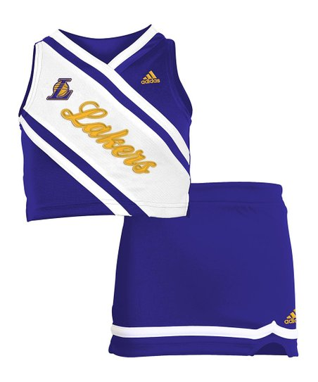 Purple 'Lakers' Cheerleader Top & Skirt - Girls