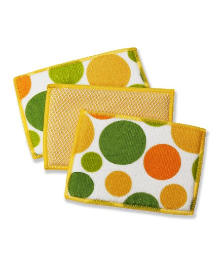 Butter Polka Dot Microfiber Sponge - Set of Six