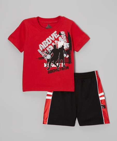 Red Dribble Tee & Black Shorts - Infant, Toddler & Boys