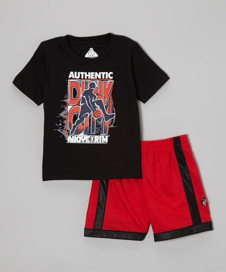 Black 'Dunk City' Tee & Red Shorts - Infant, Toddler & Boys