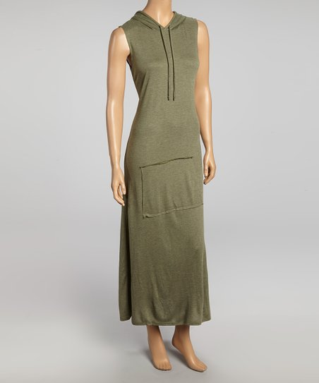 Olive Hooded Maxi Dress