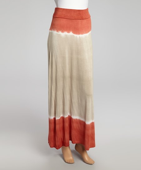Rust Tie-Dye Panel Maxi Skirt