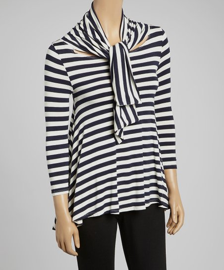 Navy & Ivory Stripe Swing Top & Scarf