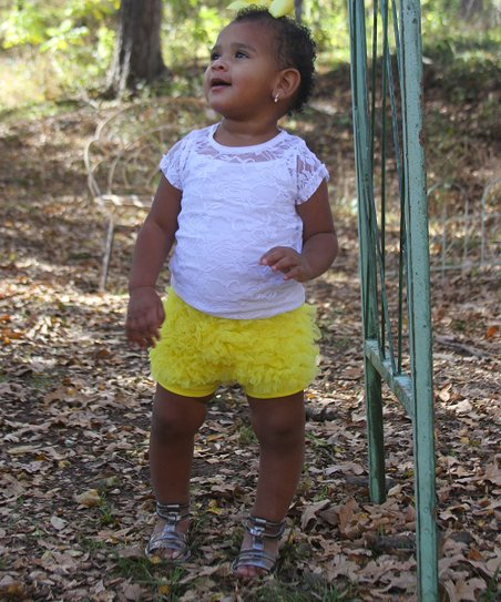 Yellow Chiffon Ruffle Shorts - Infant & Toddler