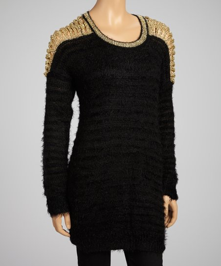 Black & Gold Cutout Sweater