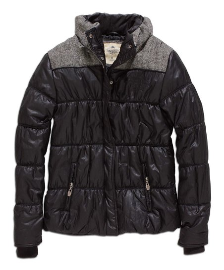 Black & Gray Yoke Puffer Jacket