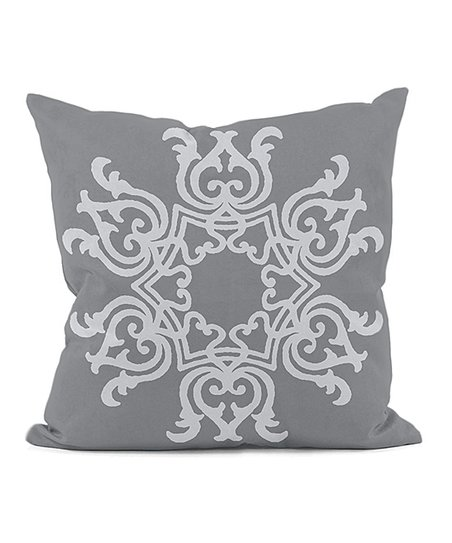 Gray Floral Motif Indoor/Outdoor Pillow