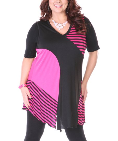 Black & Pink Stripe Patchwork Sleeveless Tunic - Plus