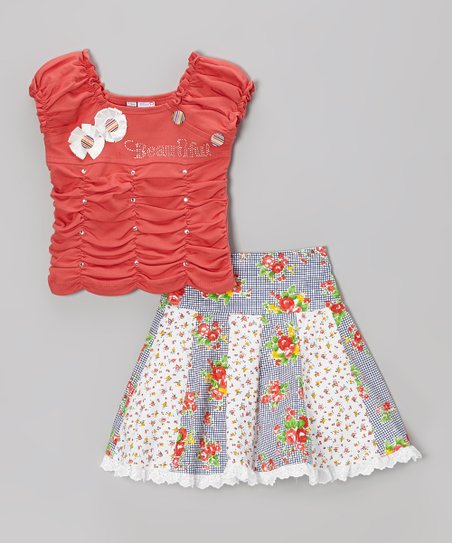 Pink Studded Rosette Tee & Floral Skirt - Toddler & Girls