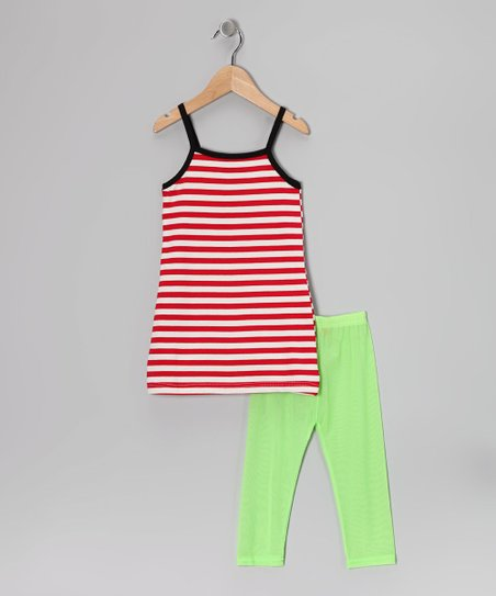 Red Stripe Wing Tank & Green Leggings - Toddler & Girls