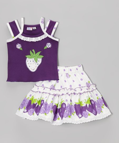 Purple & White Strawberry Tank & Skirt - Infant, Toddler & Girls