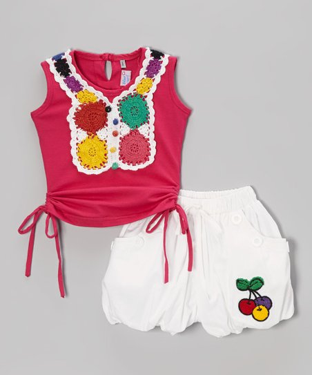 Red Crocheted Tank & White Shorts - Infant, Toddler & Girls