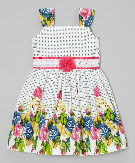 White & Pink Polka Dot Garden Dress - Toddler & Girls
