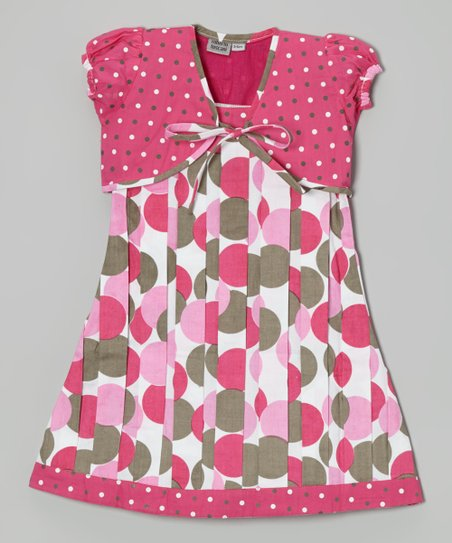 Pink Polka Dot Pleated A-Line Dress & Shrug - Toddler & Girls