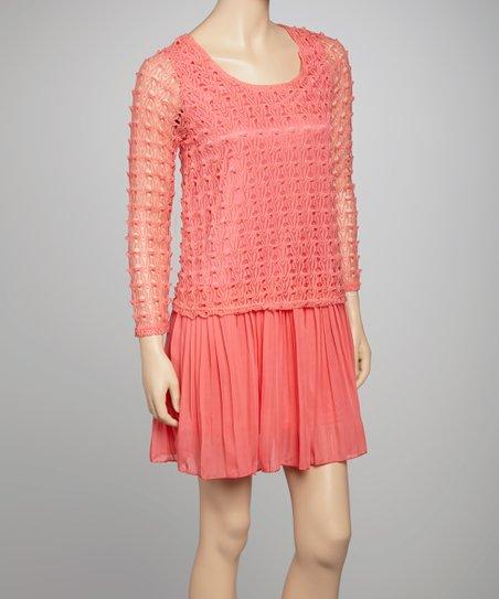 Coral Silk-Blend Dress