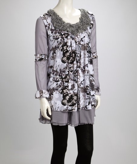 Gray & Cream Butterfly Ruffle Linen-Blend Long-Sleeve Tunic