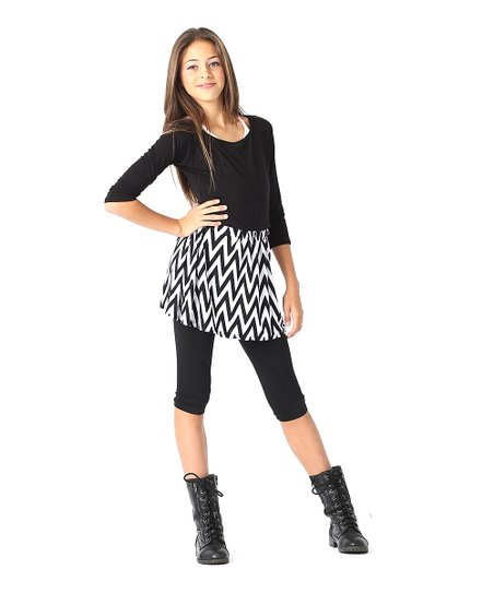 White & Black Zigzag Skirt