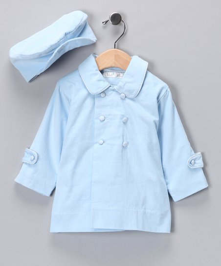 Blue Gingham-Trim Corduroy Peacoat & Hat - Infant