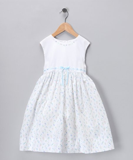 White & Blue Floral Sleeveless Dress - Girls