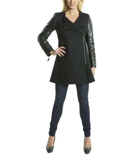 Black Asymmetrical Faux Leather Wool-Blend Jacket